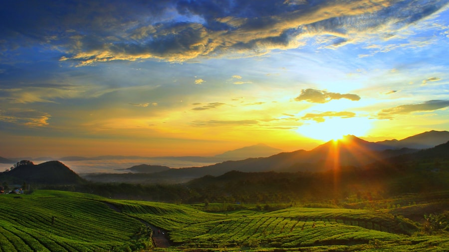 Bandung featuring a sunset, landscape views and mountains