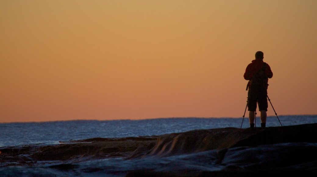 Shelly Beach which includes general coastal views and a sunset as well as an individual male