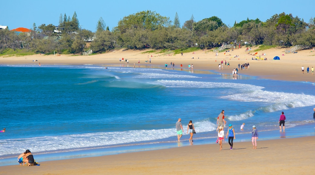 Mooloolaba Beach which includes a beach and a bay or harbour as well as a large group of people