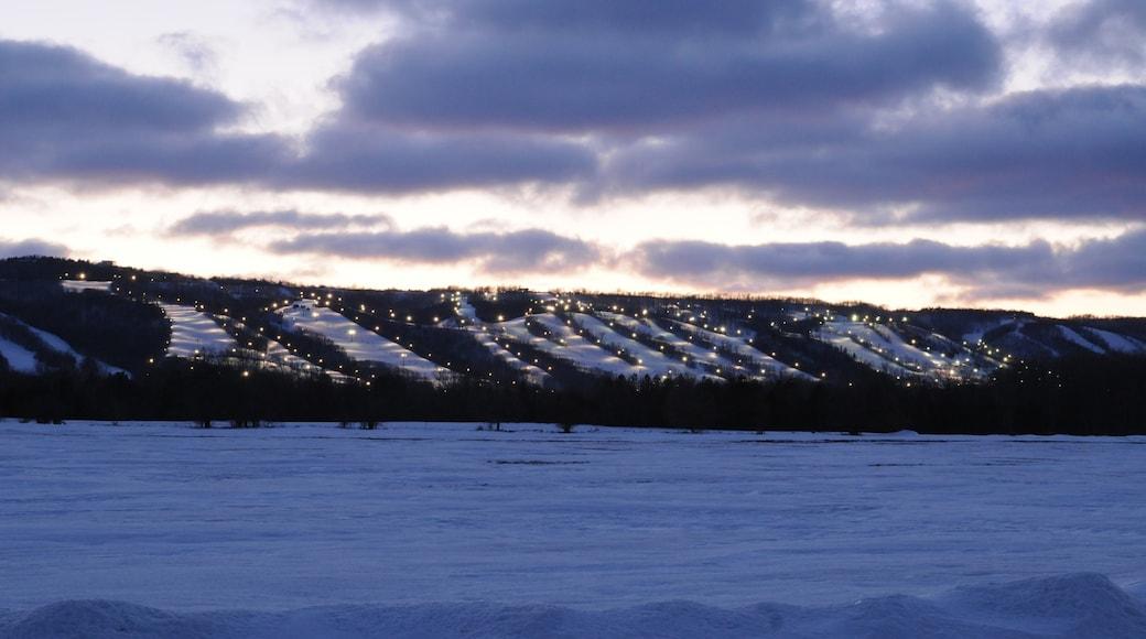 Blue Mountain Ski Resort que incluye escenas nocturnas, un hotel o resort de lujo y nieve