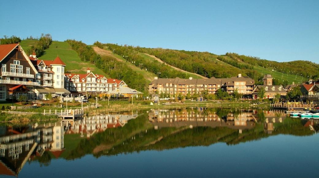 Blue Mountain Ski Resort ofreciendo una pequeña ciudad o pueblo y un lago o abrevadero
