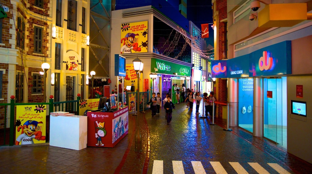 KidZania which includes rides, street scenes and interior views