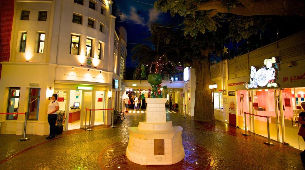 KidZania showing interior views, night scenes and street scenes
