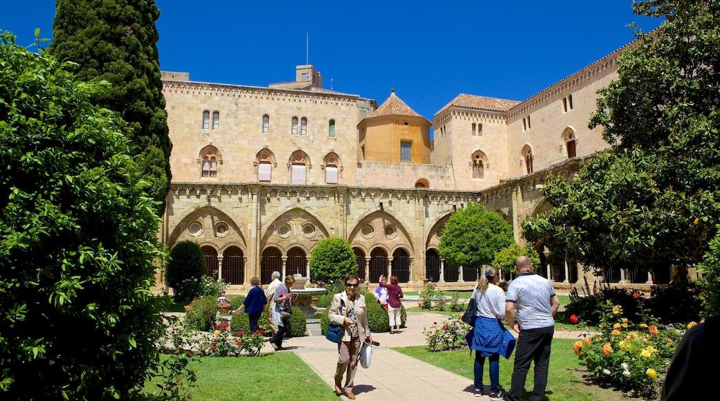 Catedral de Tarragona mostrando arquitectura patrimonial y un parque y también un grupo grande de personas