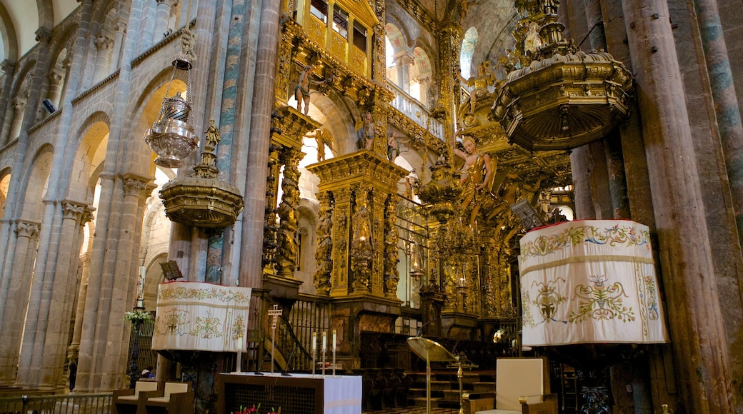 Santiago de Compostela Cathedral which includes interior views, heritage elements and a church or cathedral