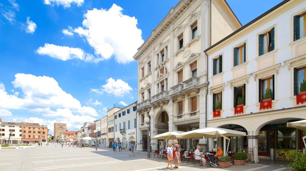 Piazza Ferretto mostrando strade, caffè e mangiare all\'aperto
