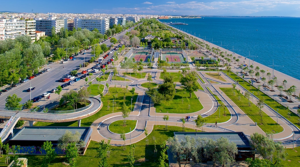 Thessaloniki showing general coastal views, a garden and a city