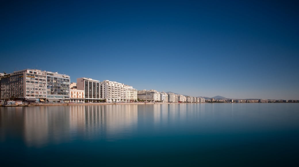 Thessaloniki which includes a coastal town, general coastal views and a city