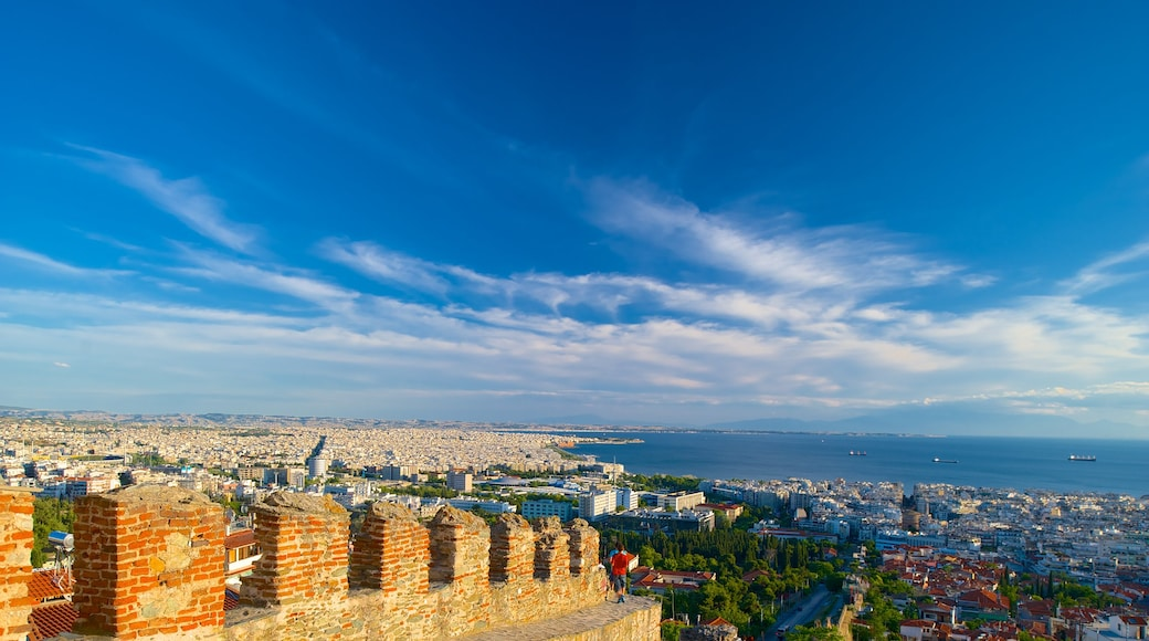 Byzantine Walls which includes a coastal town, landscape views and heritage elements