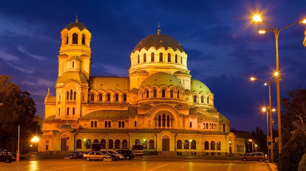 Cathédrale Alexandre-Nevski qui includes scènes de nuit, patrimoine architectural et église ou cathédrale