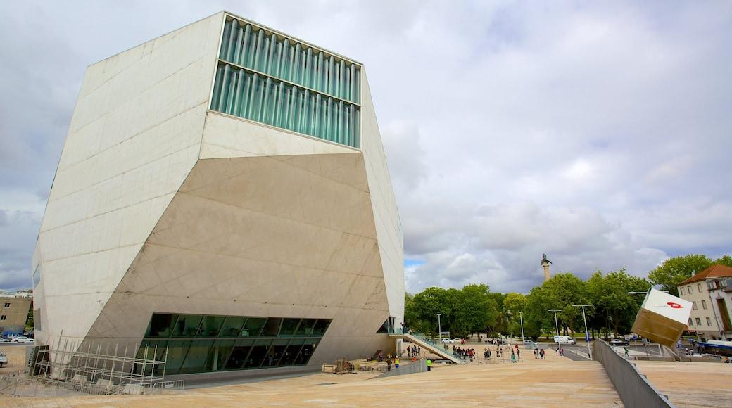 Casa da Musica som viser gatescener og moderne arkitektur