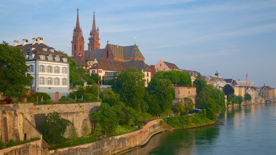 Basel featuring a river or creek and a city