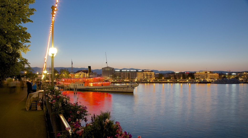 Geneva showing night scenes, a lake or waterhole and a sunset