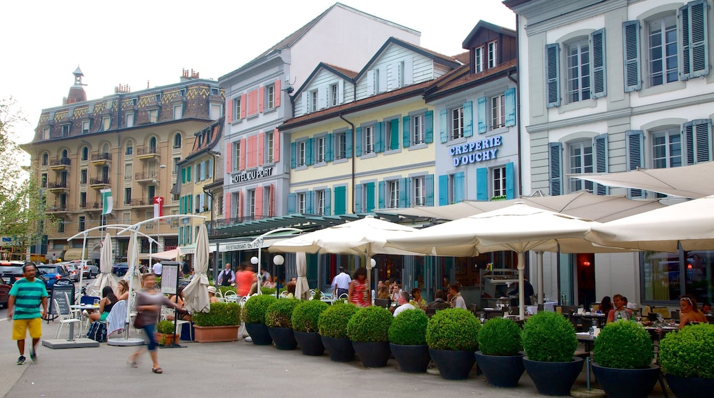 Lausanne featuring street scenes as well as a large group of people