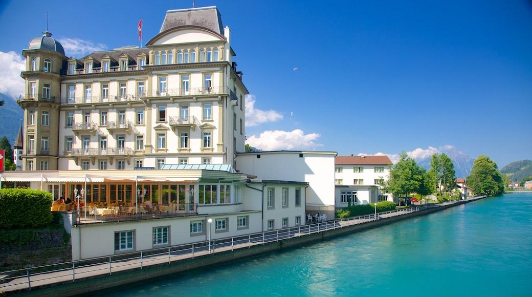 Interlaken showing a lake or waterhole and a coastal town