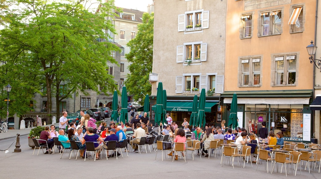 Bourg-de-Four Square which includes café lifestyle, outdoor eating and street scenes