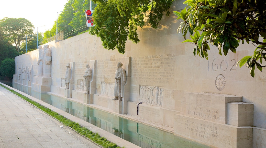 Reformation Wall Monument which includes a statue or sculpture, a monument and a pond