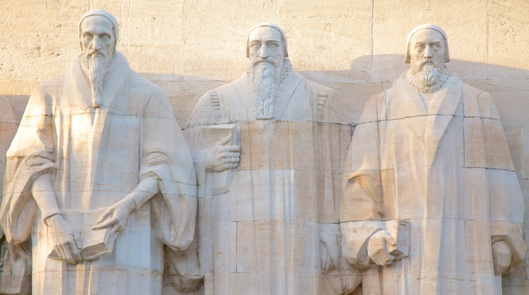 Reformation Wall Monument which includes a statue or sculpture and outdoor art