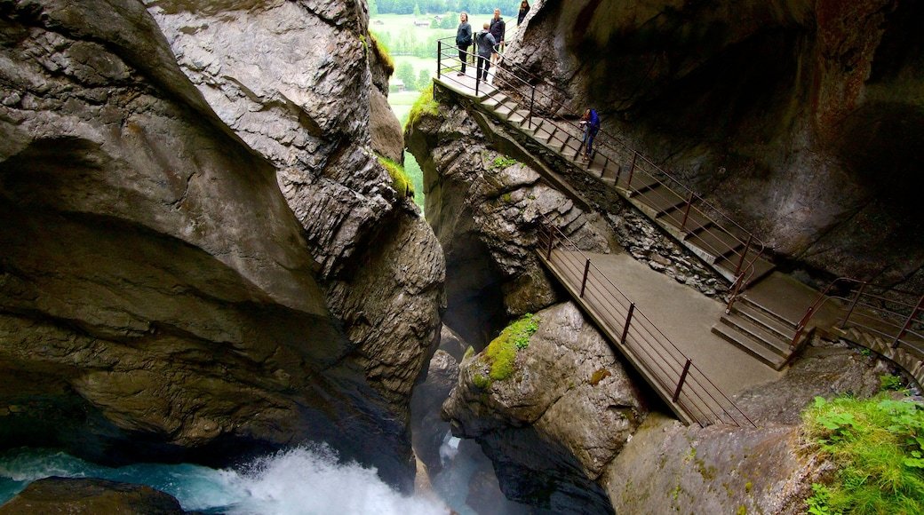 Trummelbach Falls featuring a cascade, a gorge or canyon and views