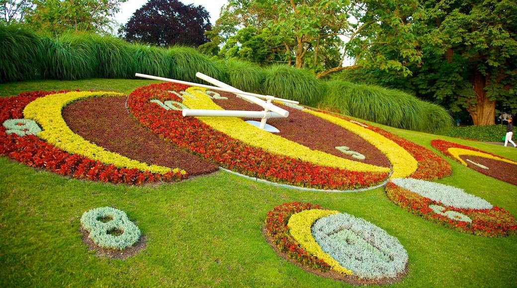 L\'horloge fleurie bevat een park, bloemen en kunst in de open lucht