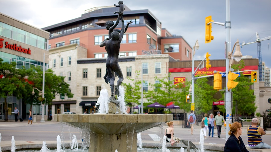 Guelph which includes a fountain, a statue or sculpture and a city