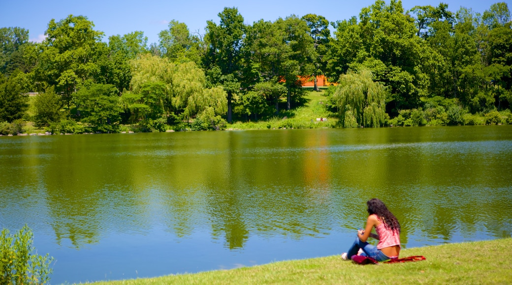 Delaware Park featuring a lake or waterhole as well as an individual female