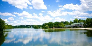 Delaware Park que inclui um lago ou charco