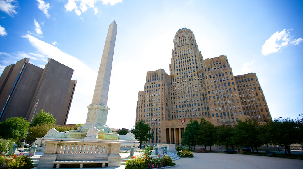 Buffalo City Hall which includes a monument, a square or plaza and a city