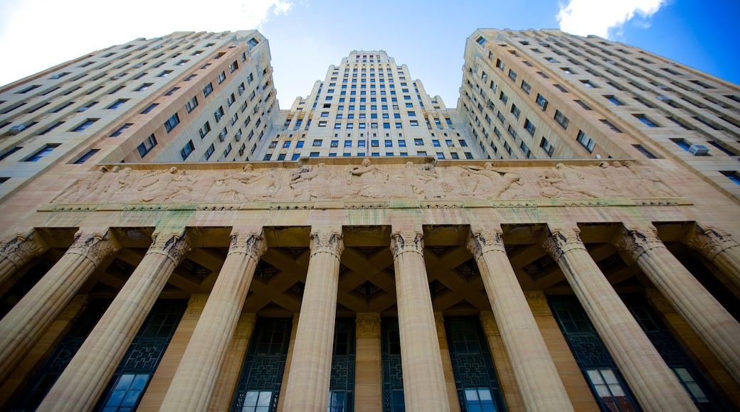 Buffalo City Hall showing heritage architecture, street scenes and an administrative building