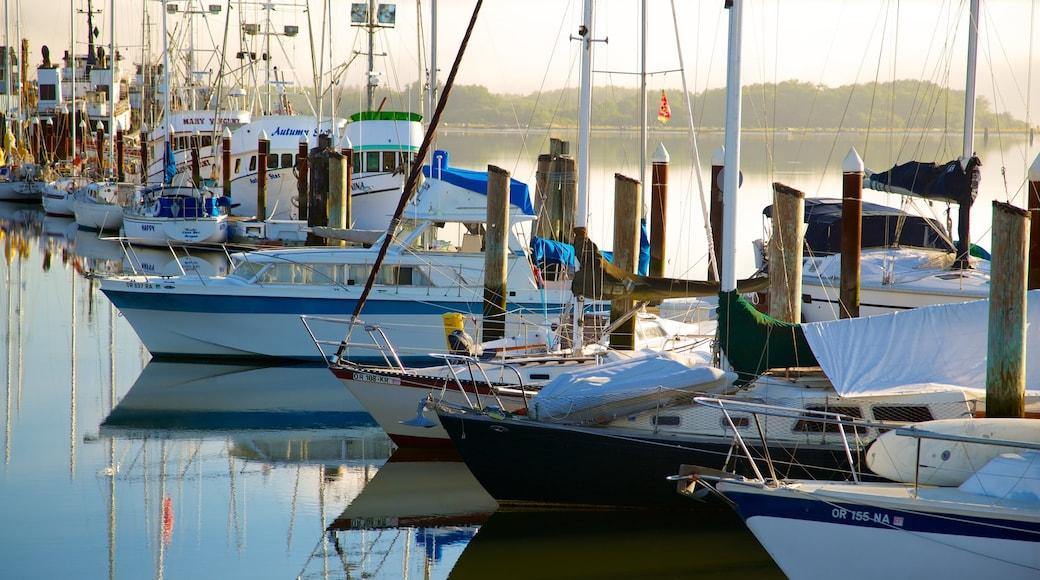 Coos Bay showing a marina