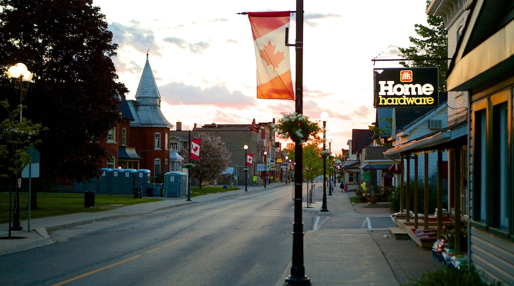 Kemptville featuring a sunset, a small town or village and street scenes