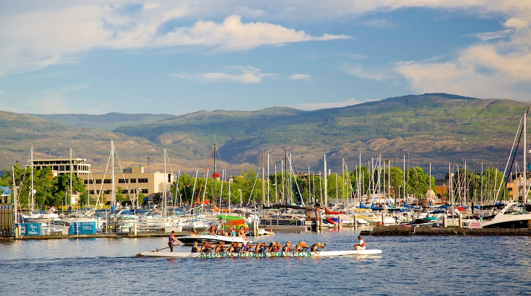 Waterfront Park featuring kayaking or canoeing and a bay or harbour as well as a large group of people