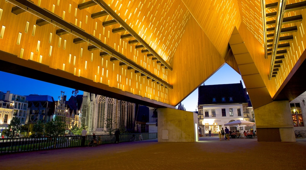 Ghent showing modern architecture, night scenes and a city