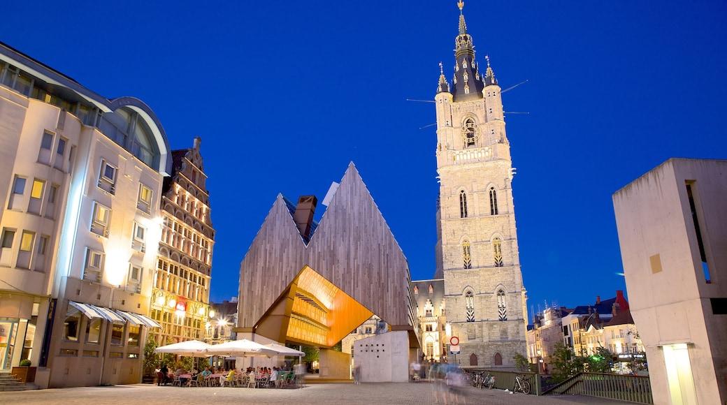 根特鐘樓 其中包括 現代建築, 夜景 和 城市