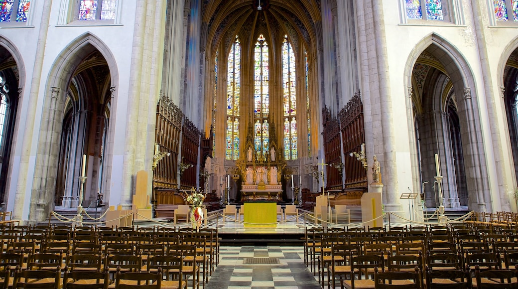 Liege Cathedral showing religious elements, a church or cathedral and interior views