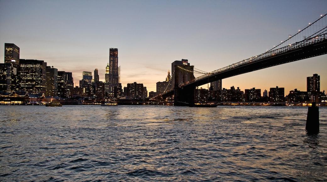 브루클린 브리지 이 포함 일몰, 도시 과 다리
