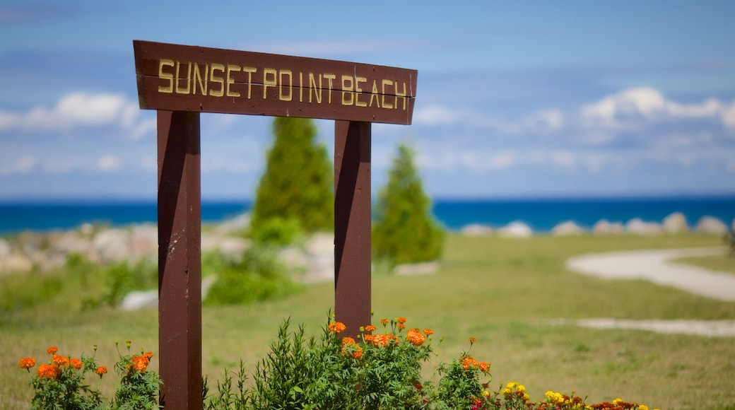 Sunset Point Park which includes a garden and signage