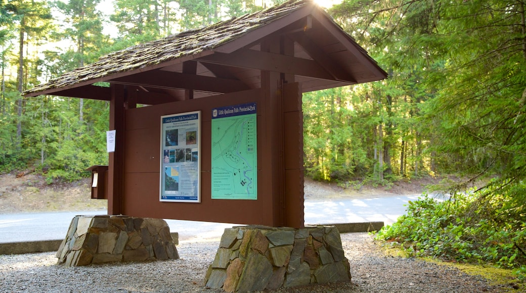 Little Qualicum Falls Provincial Park showing signage and forests