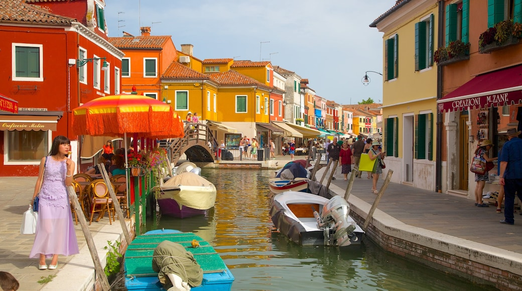 Burano showing heritage architecture and a river or creek