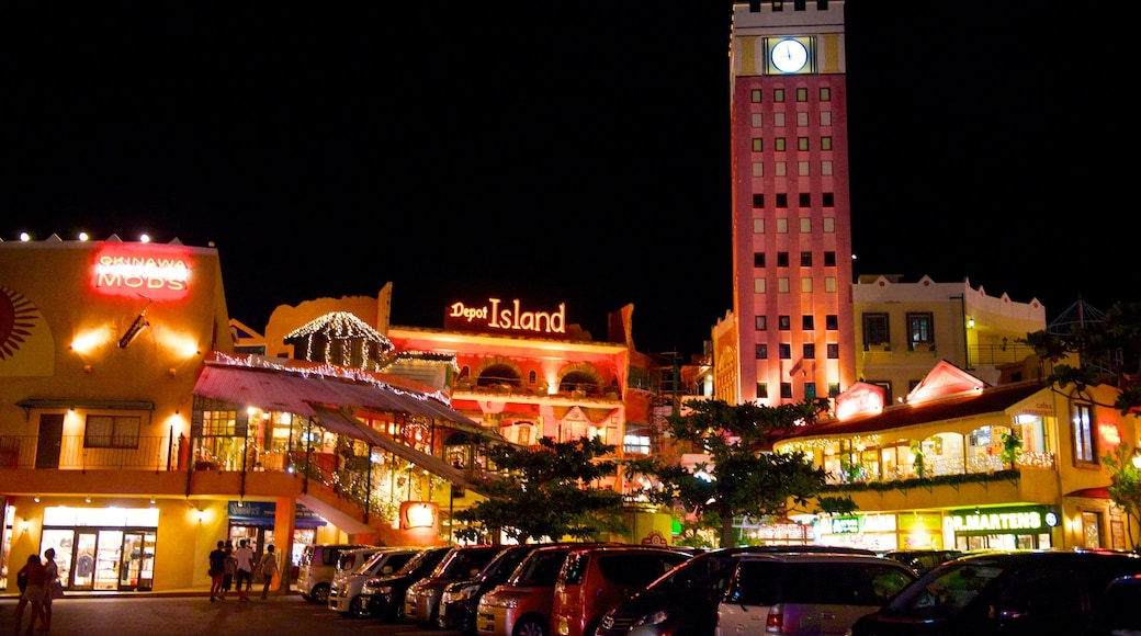 Mihama American Village showing a city and night scenes