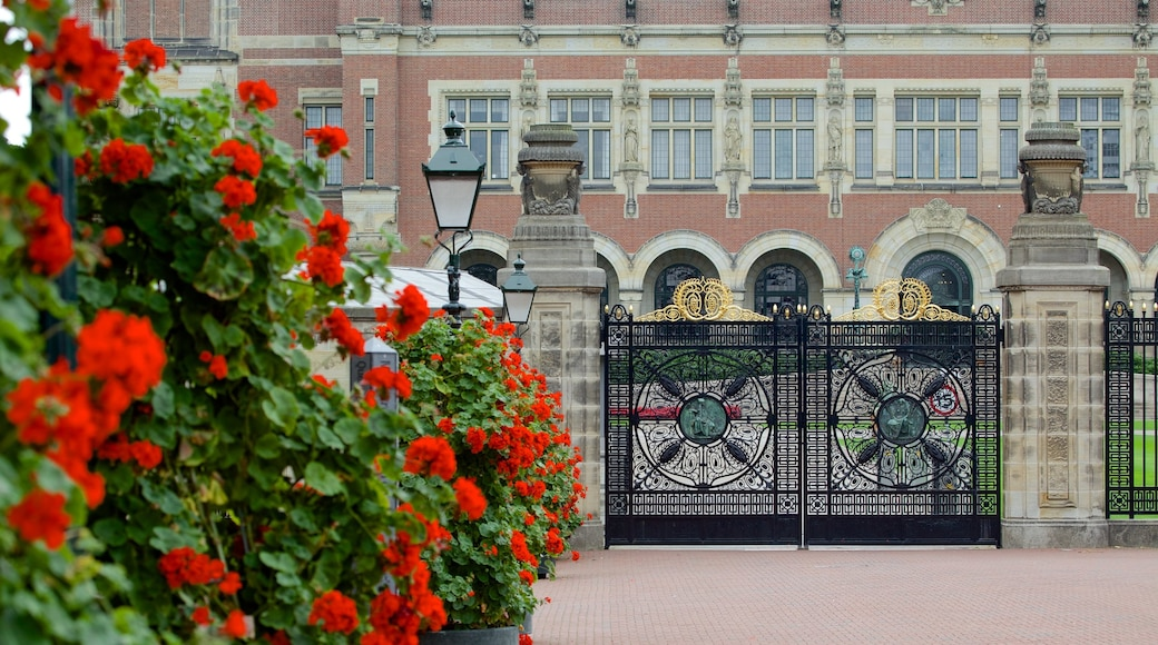 Peace Palace featuring château or palace, heritage architecture and flowers
