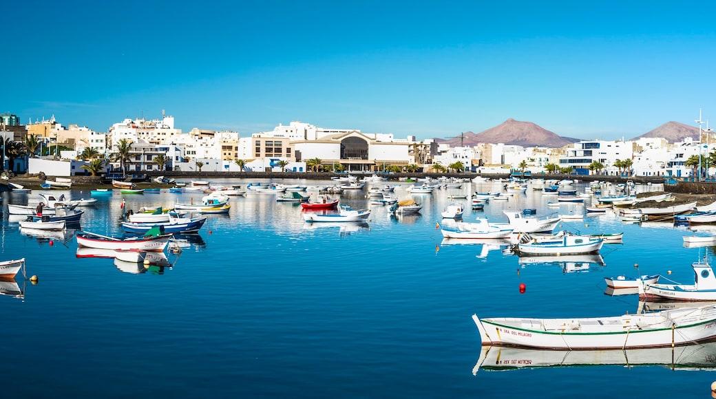 Lanzarote toont een jachthaven en een kuststadje