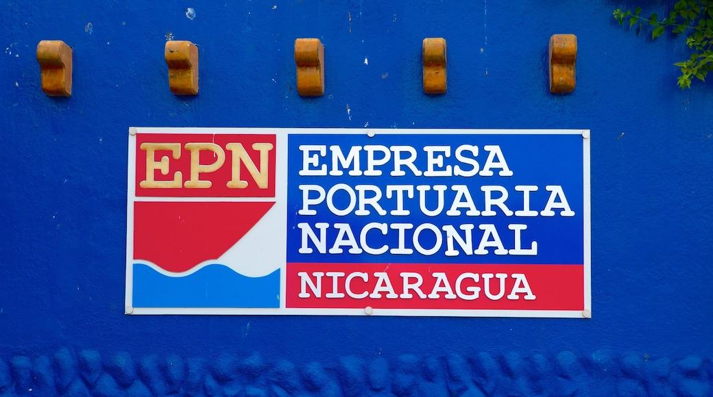 Puerto Salvador Allende showing signage