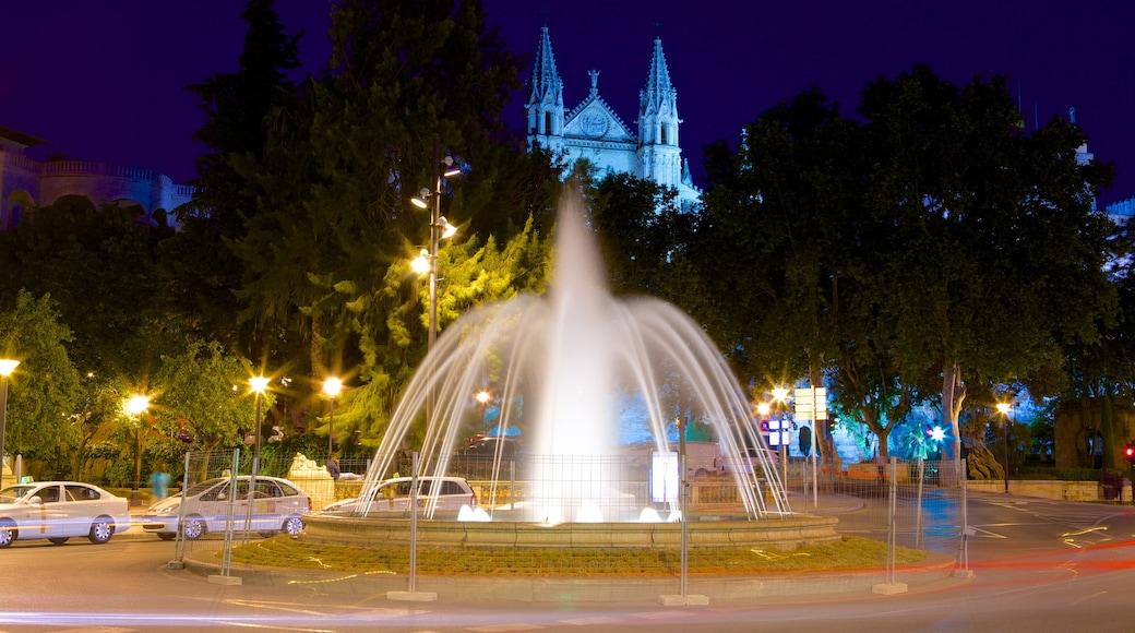Mallorca Island featuring a fountain and night scenes