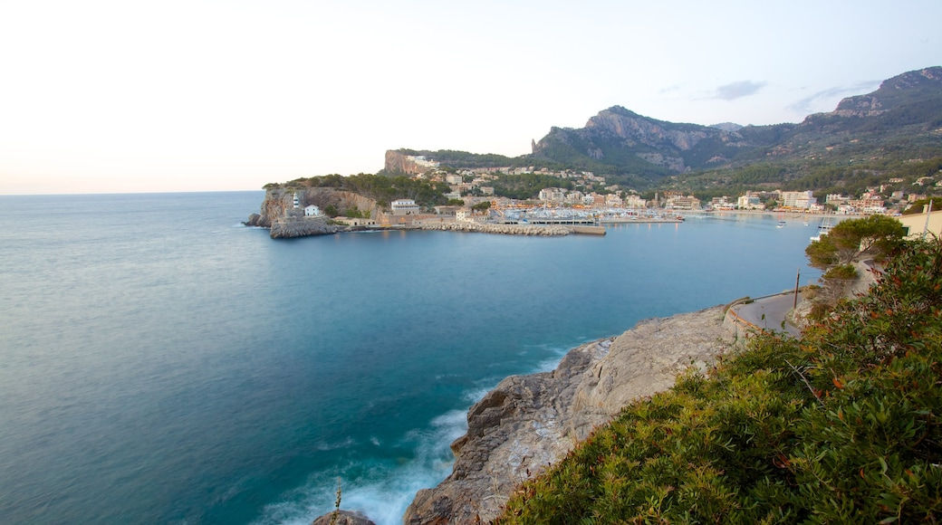Port de Soller Lighthouse featuring general coastal views and a coastal town