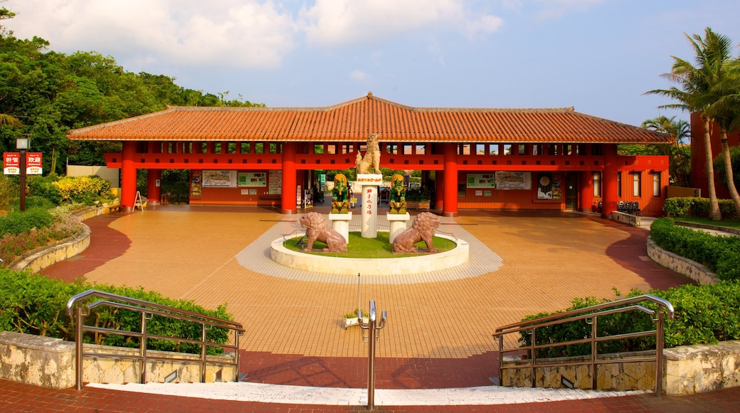 Okinawa World featuring heritage architecture and a square or plaza