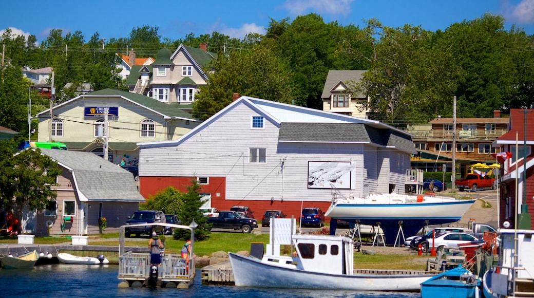 Baddeck que incluye una bahía o puerto y una casa