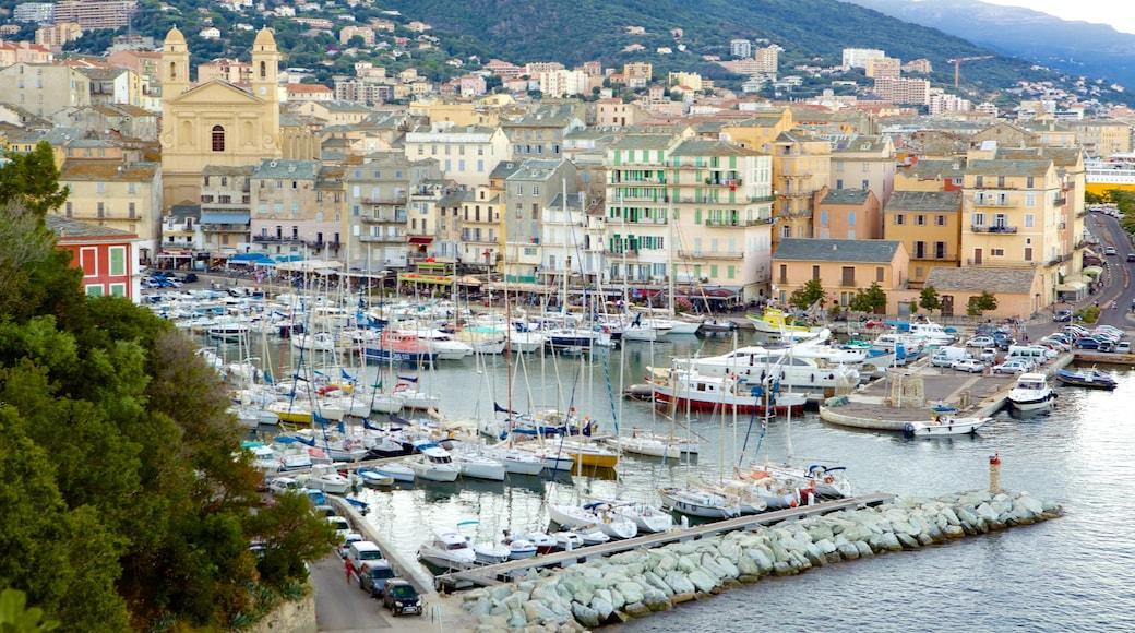 Bastia which includes a coastal town and a marina