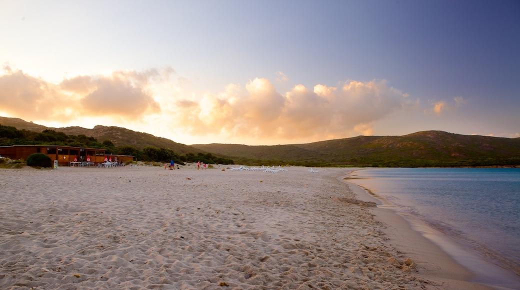 Plage de Balistra montrant coucher de soleil et plage de sable