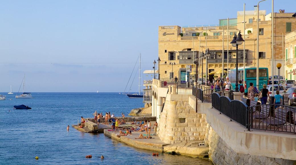 Balluta Bay mit einem allgemeine Küstenansicht, Bucht oder Hafen und historische Architektur